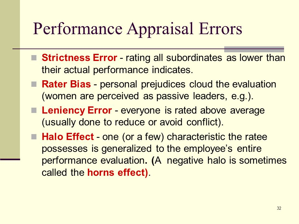 Performance Appraisal Errors