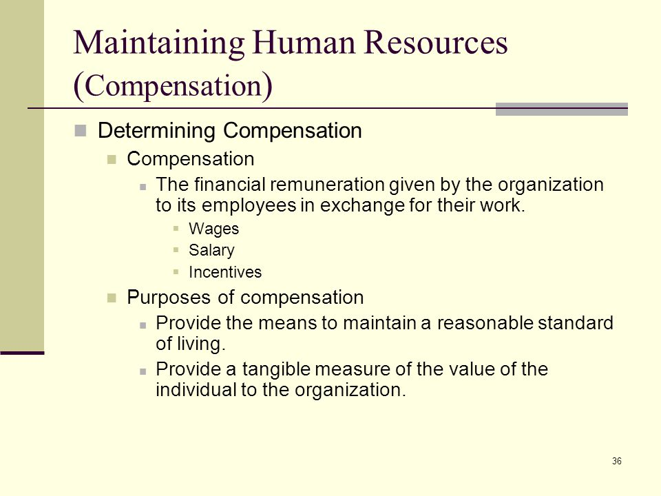 Maintaining Human Resources (Compensation)