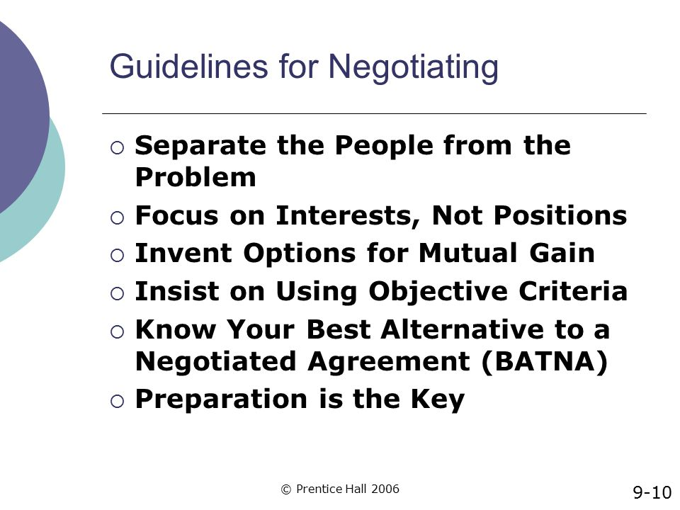 Guidelines for Negotiating
