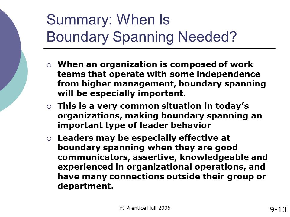 Summary: When Is Boundary Spanning Needed