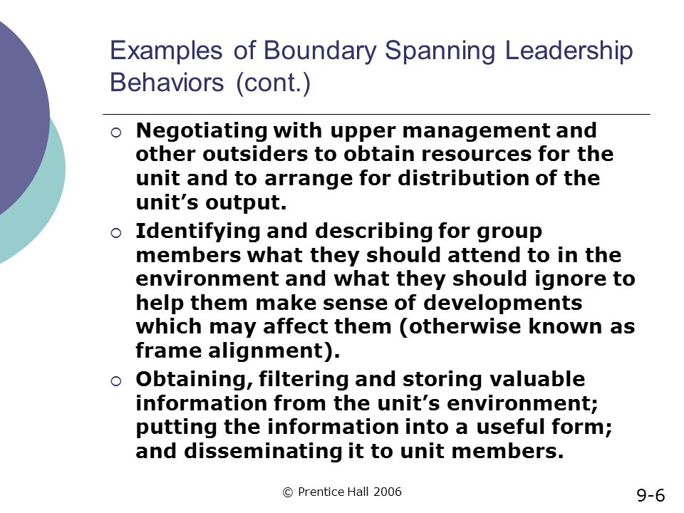 Examples of Boundary Spanning Leadership Behaviors (cont.)
