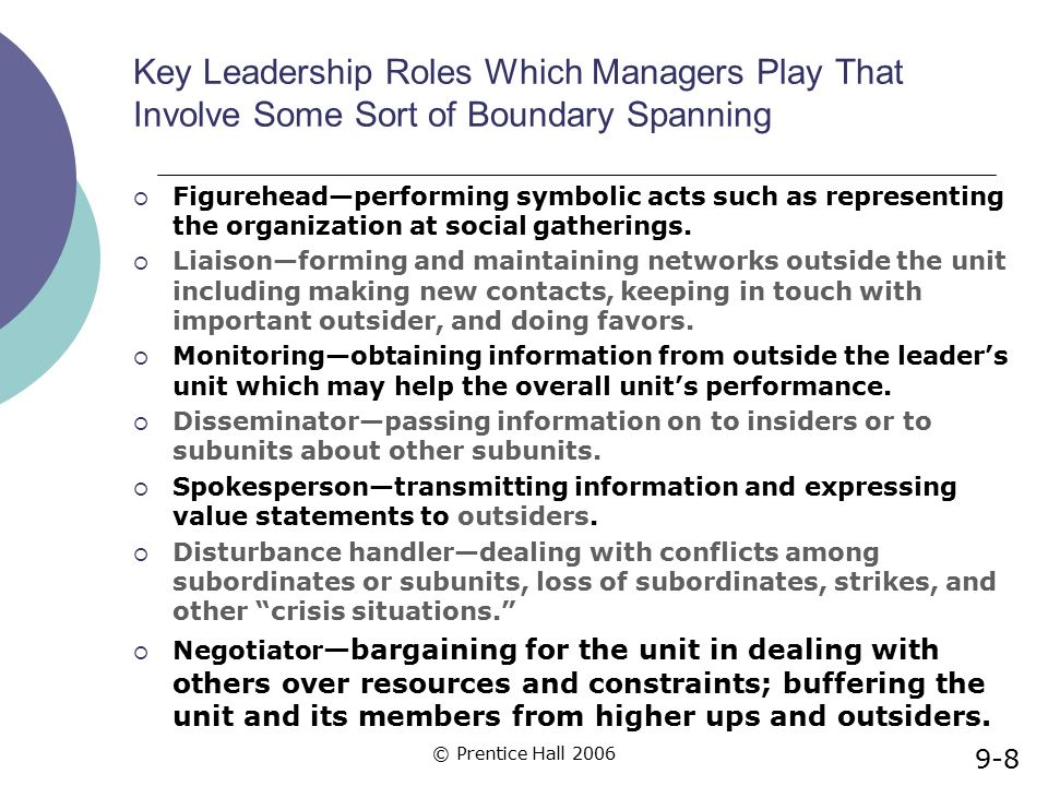 Key Leadership Roles Which Managers Play That Involve Some Sort of Boundary Spanning