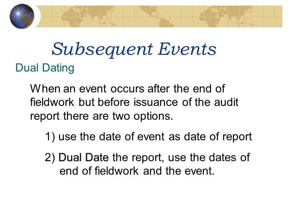 Subsequent Events Dual Dating