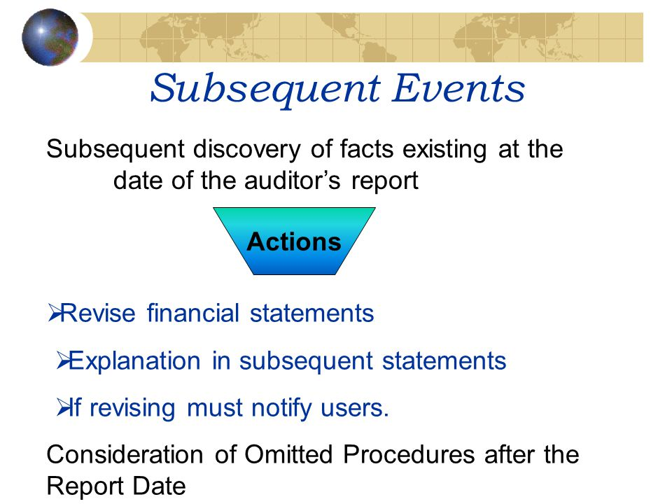 Subsequent Events Subsequent discovery of facts existing at the date of the auditor's report. Actions.