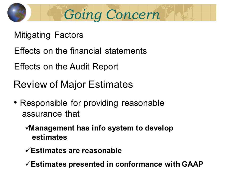 Going Concern Review of Major Estimates