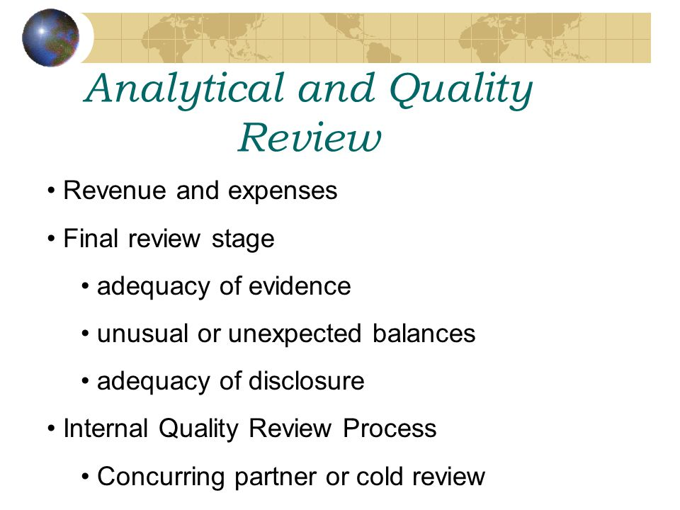 Analytical and Quality Review