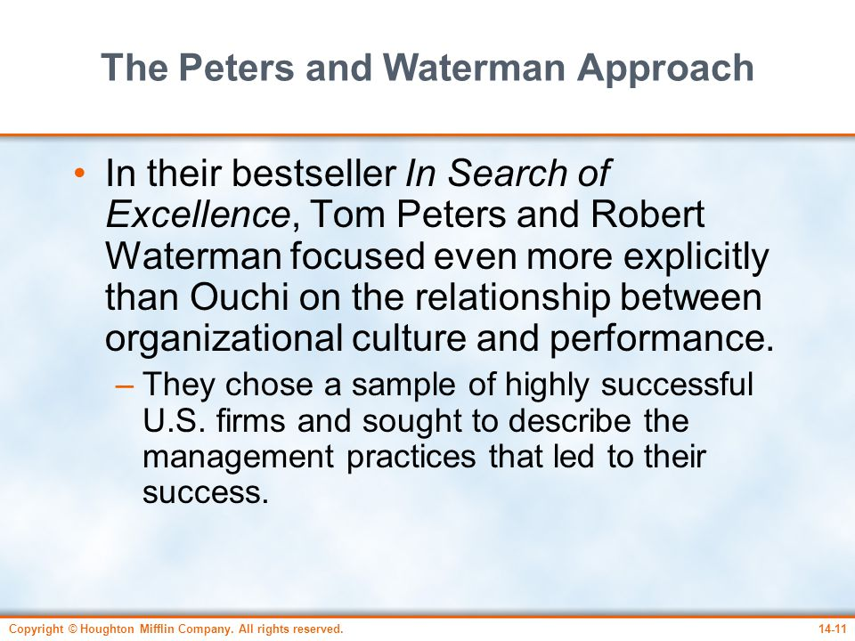 peters and waterman s culture excellence Marketing excellence in american professional sport  success or excellence as defined by peters and waterman within  of peters and waterman's study.