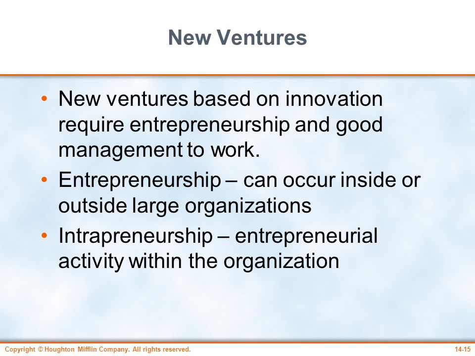 Entrepreneurship – can occur inside or outside large organizations