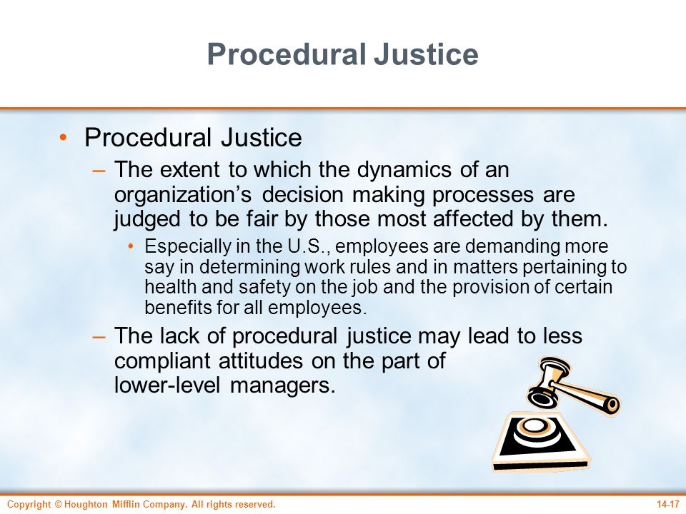 procedural justice This lesson will define procedural justice, explain procedural theory in the workplace, and provide examples of procedural justice in a company.