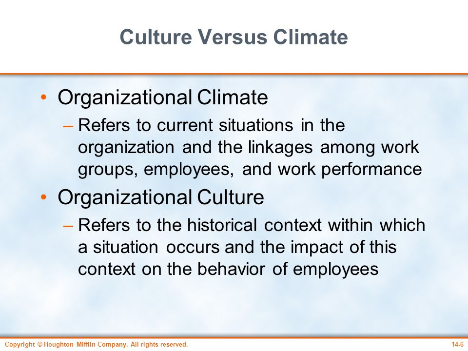 organisational climate and behaviour as facilitators Keywords: franchise system organisational climate employee turnover intention   influence upon the attitudes and behaviour of employees (brown & leigh 1996   leader facilitation and support professional and organizational esprit.