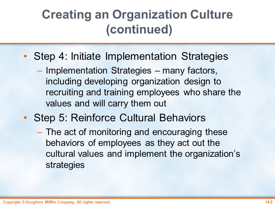 Creating an Organization Culture (continued)