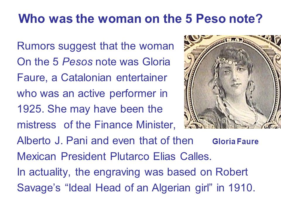 Who was the woman on the 5 Peso note