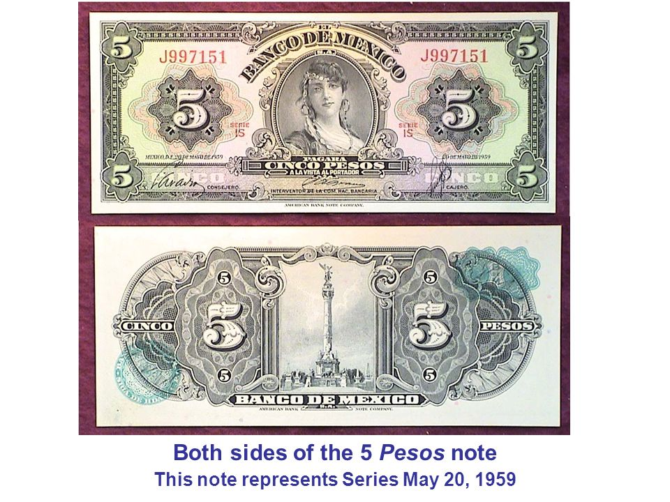 Both sides of the 5 Pesos note