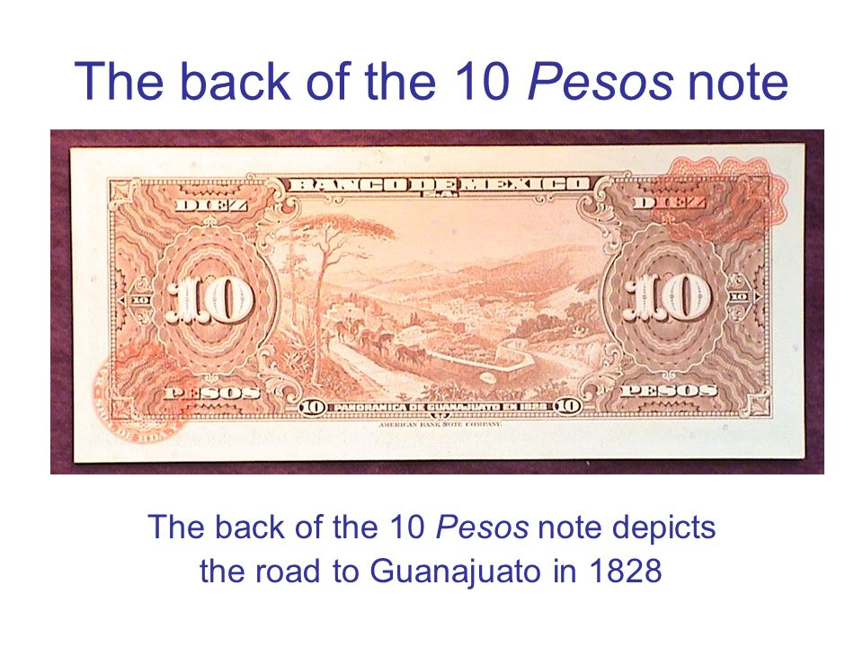The back of the 10 Pesos note