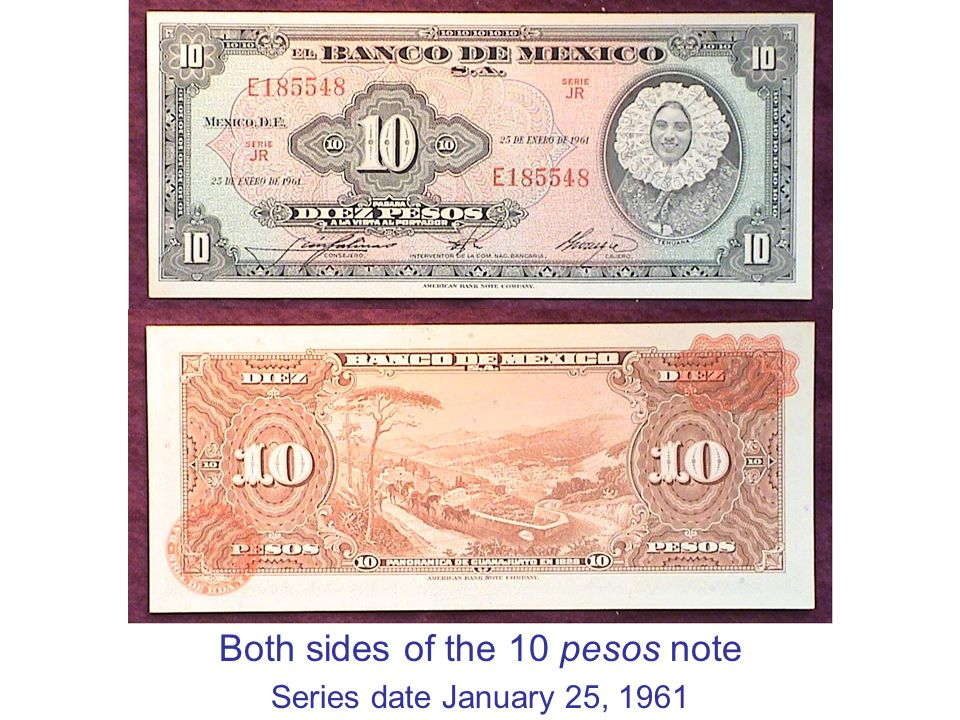 Both sides of the 10 pesos note