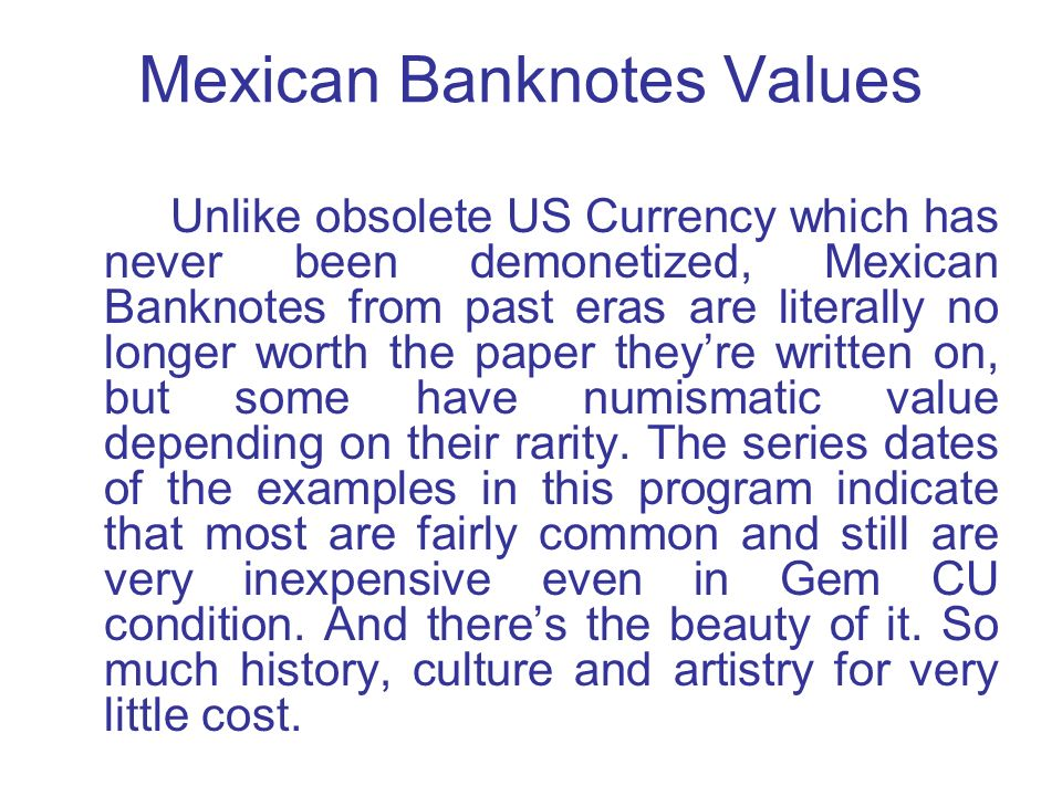 Mexican Banknotes Values