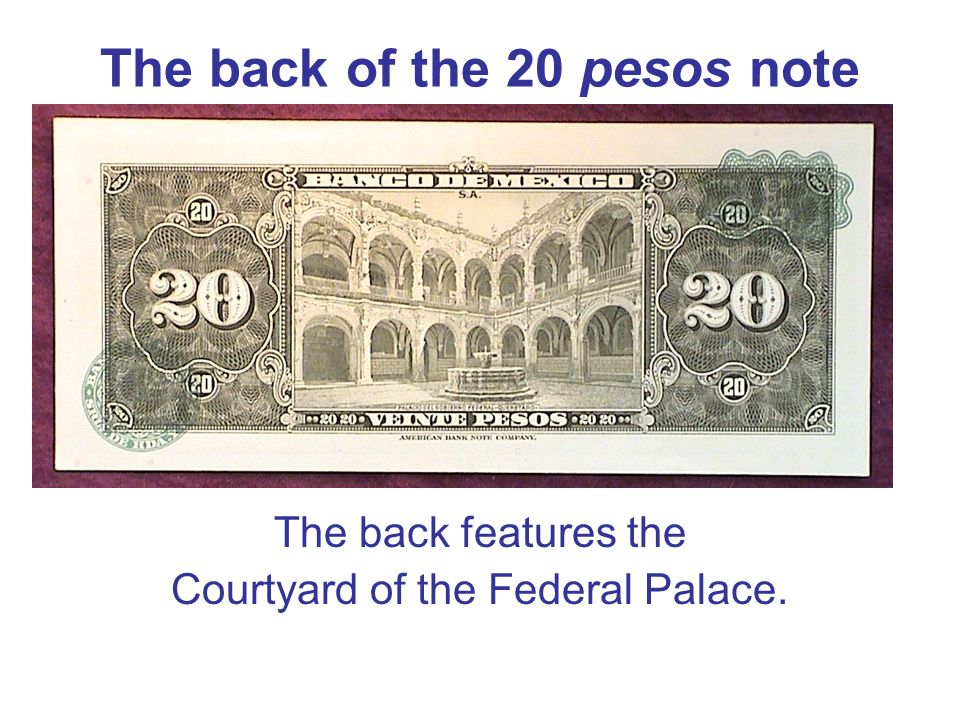 The back of the 20 pesos note
