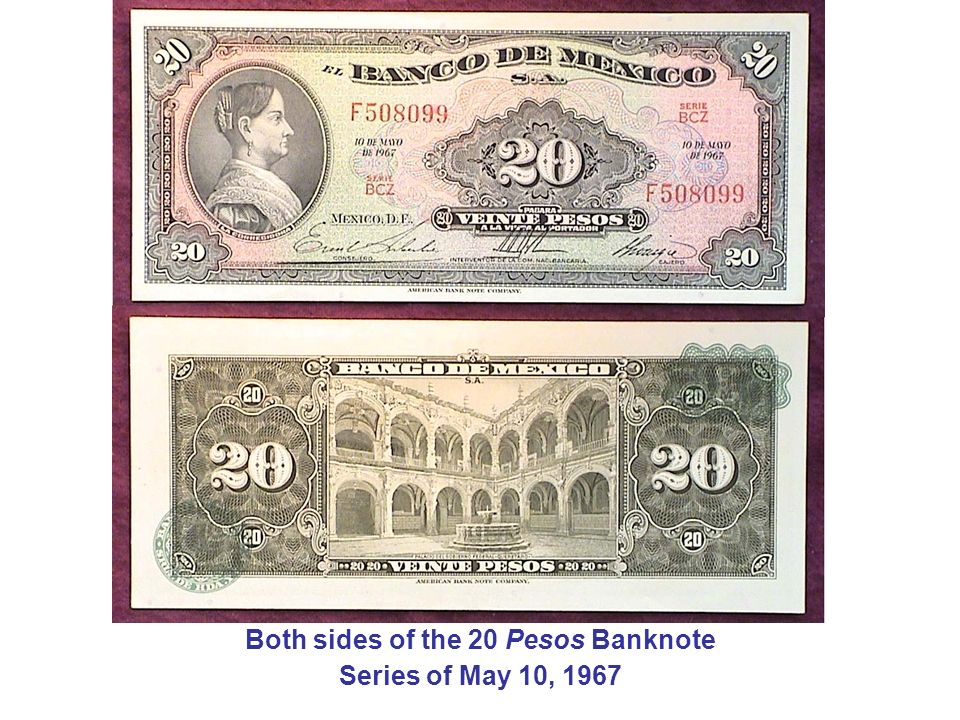 Both sides of the 20 Pesos Banknote
