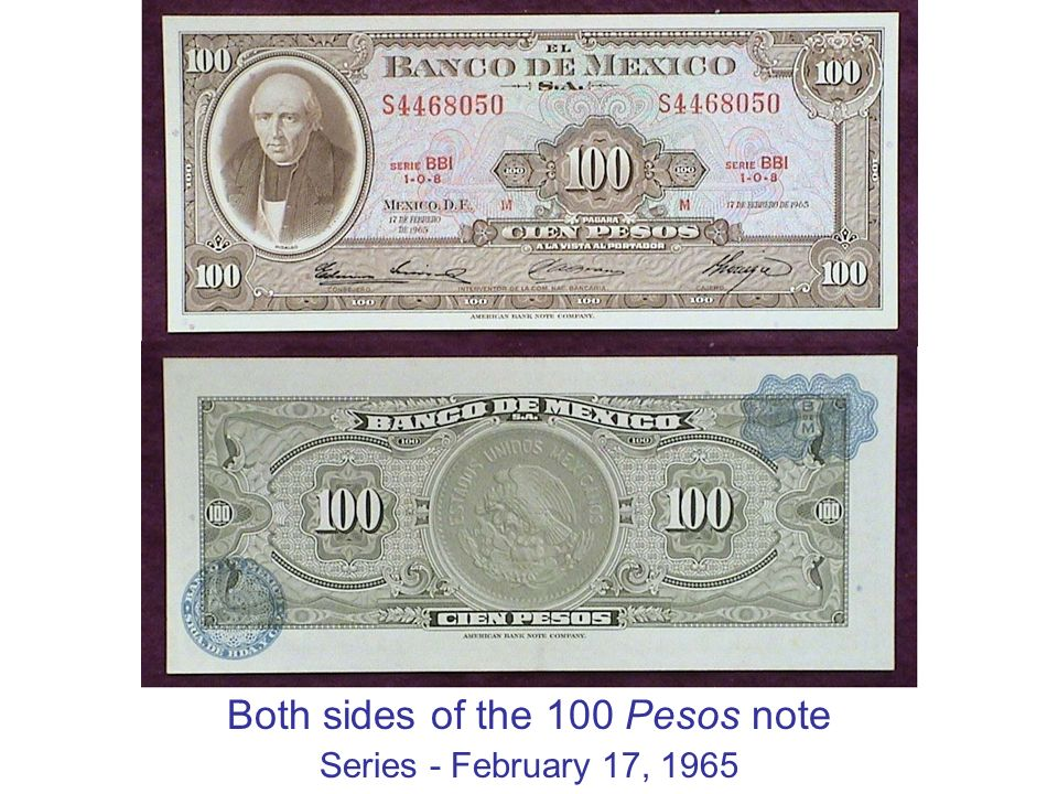 Both sides of the 100 Pesos note