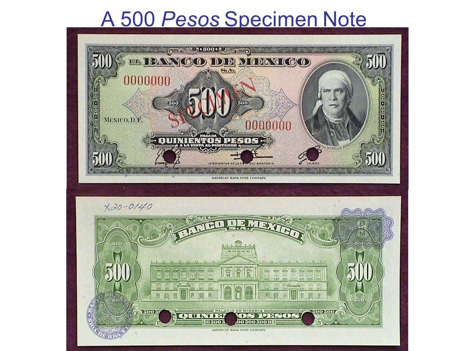 A 500 Pesos Specimen Note