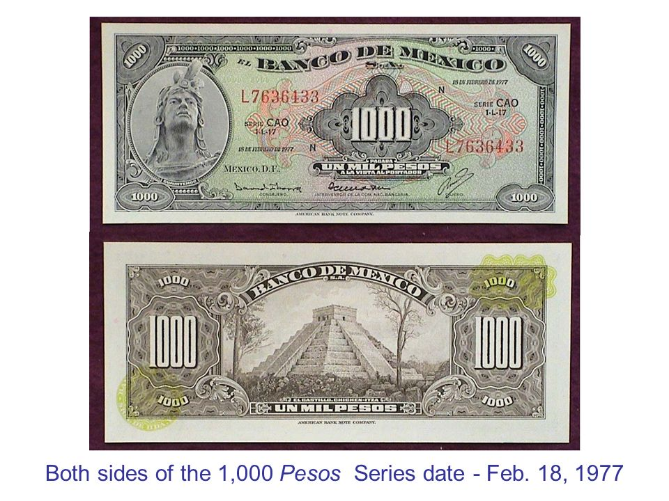 Both sides of the 1,000 Pesos Series date - Feb. 18, 1977