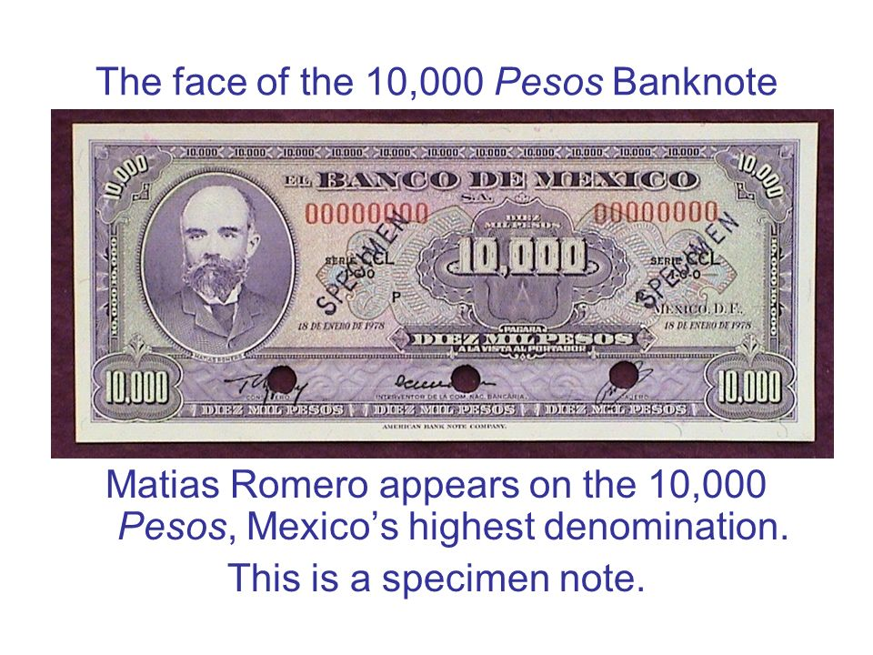 The face of the 10,000 Pesos Banknote