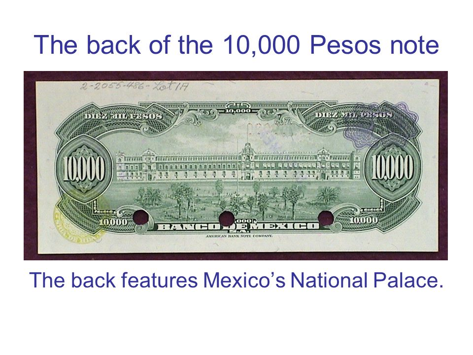 The back of the 10,000 Pesos note