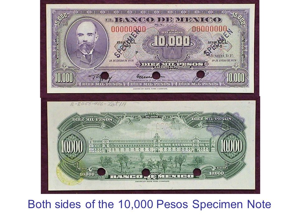 Both sides of the 10,000 Pesos Specimen Note