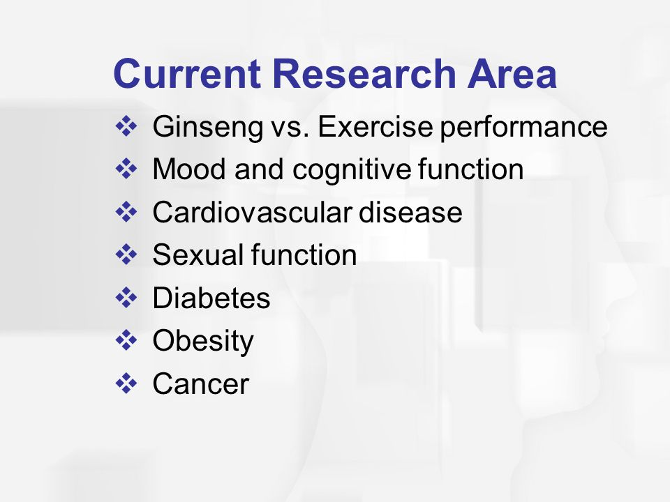Current Research Area Ginseng vs. Exercise performance