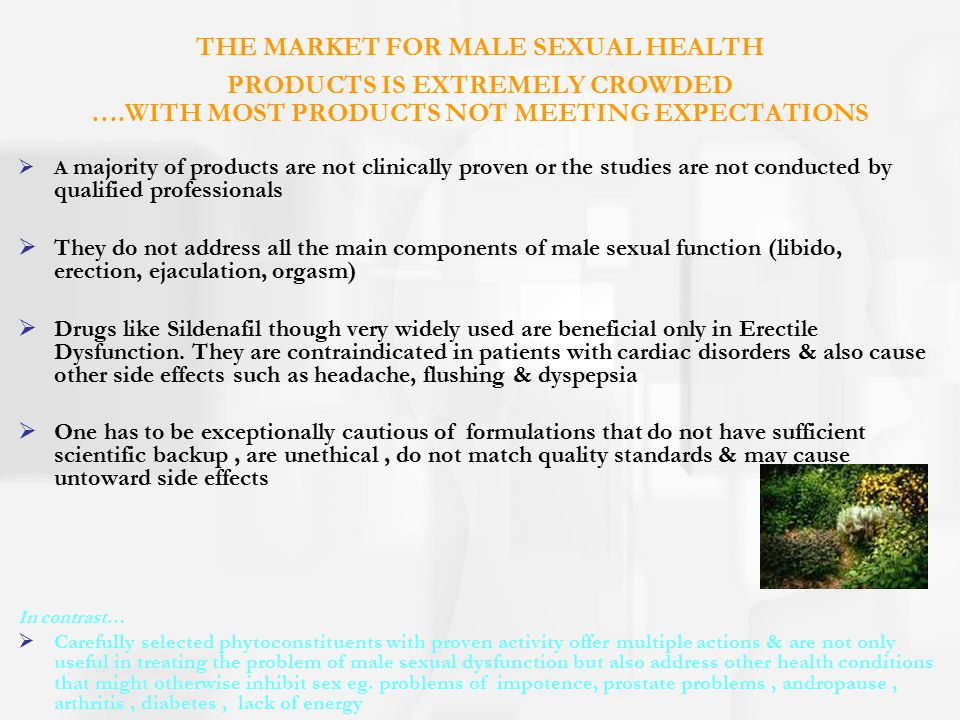 THE MARKET FOR MALE SEXUAL HEALTH PRODUCTS IS EXTREMELY CROWDED …