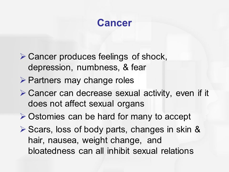 Cancer Cancer produces feelings of shock, depression, numbness, & fear