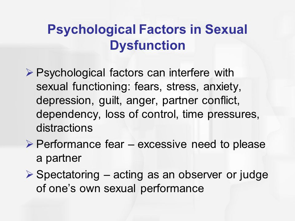 Psychological Factors in Sexual Dysfunction