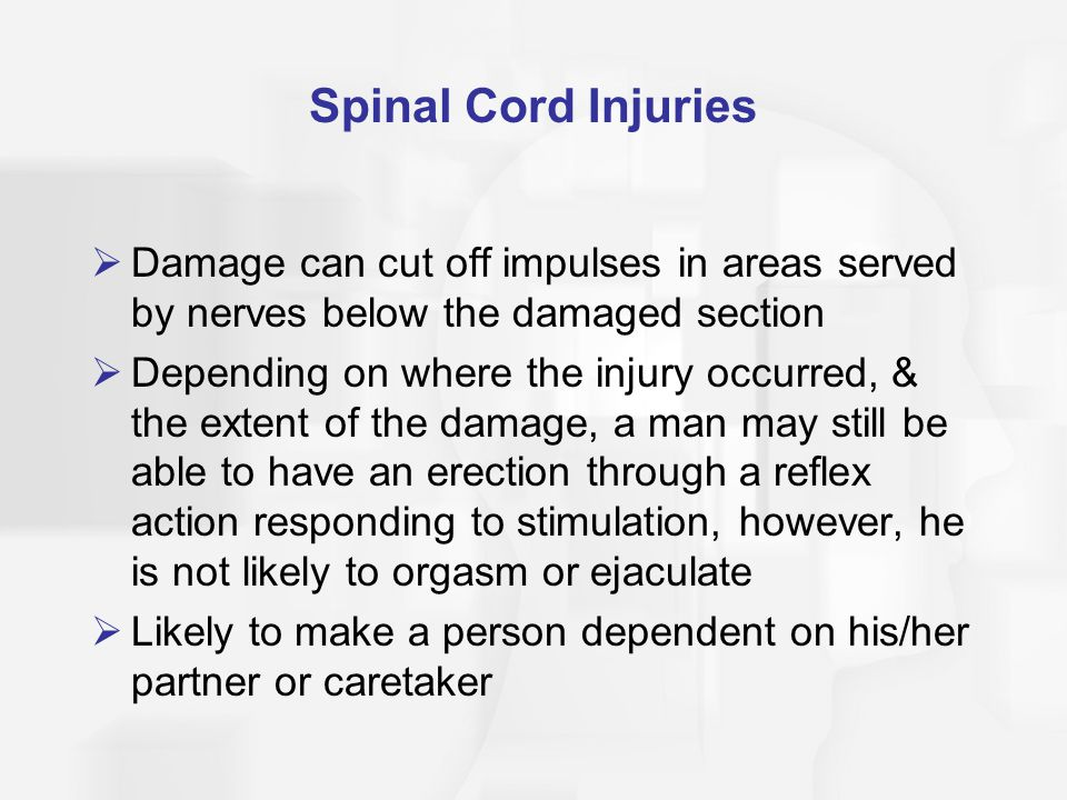 Spinal Cord Injuries Damage can cut off impulses in areas served by nerves below the damaged section.