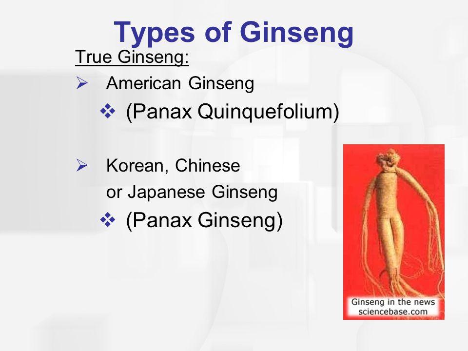 Types of Ginseng (Panax Quinquefolium) (Panax Ginseng) True Ginseng: