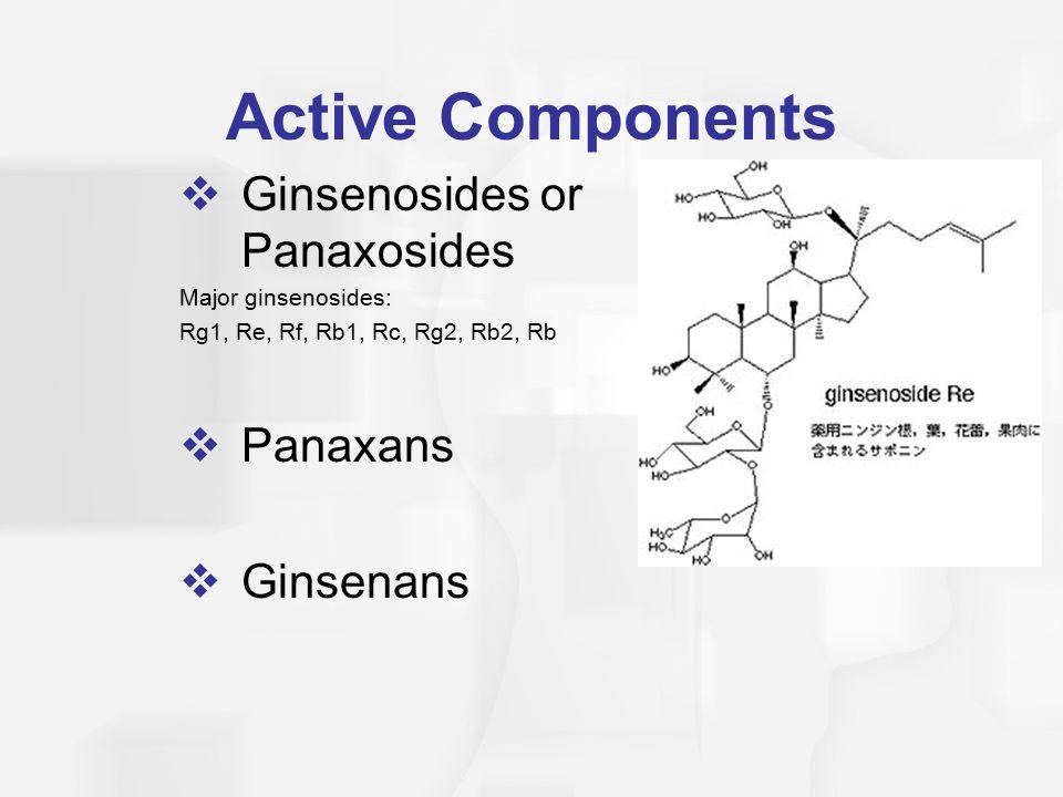 Active Components Ginsenosides or Panaxosides Panaxans Ginsenans