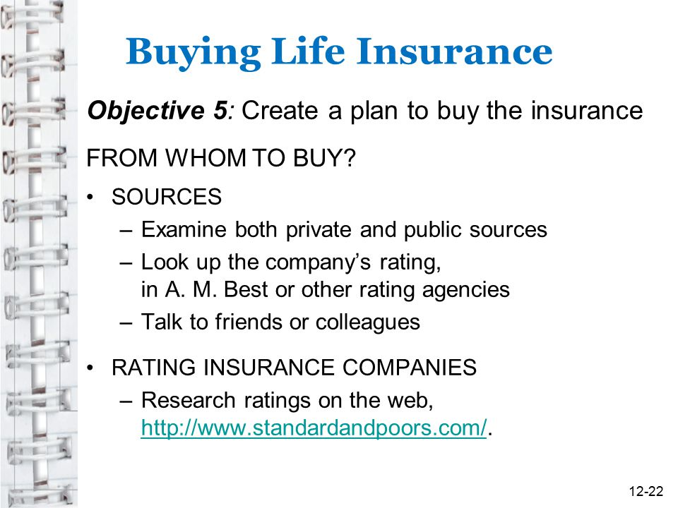 Buying Life Insurance Objective 5: Create a plan to buy the insurance