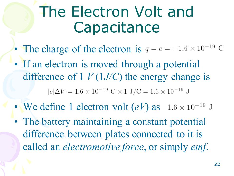 The Electron Volt and Capacitance