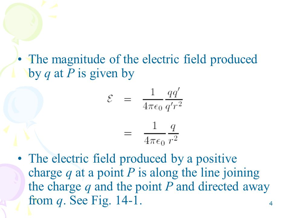 The magnitude of the electric field produced by q at P is given by