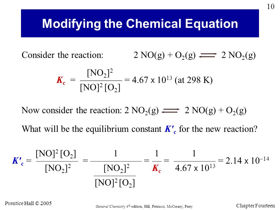 Modifying the Chemical Equation