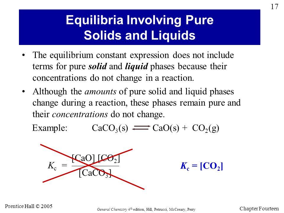 Equilibria Involving Pure Solids and Liquids