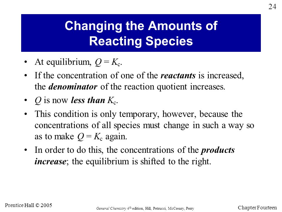 Changing the Amounts of Reacting Species