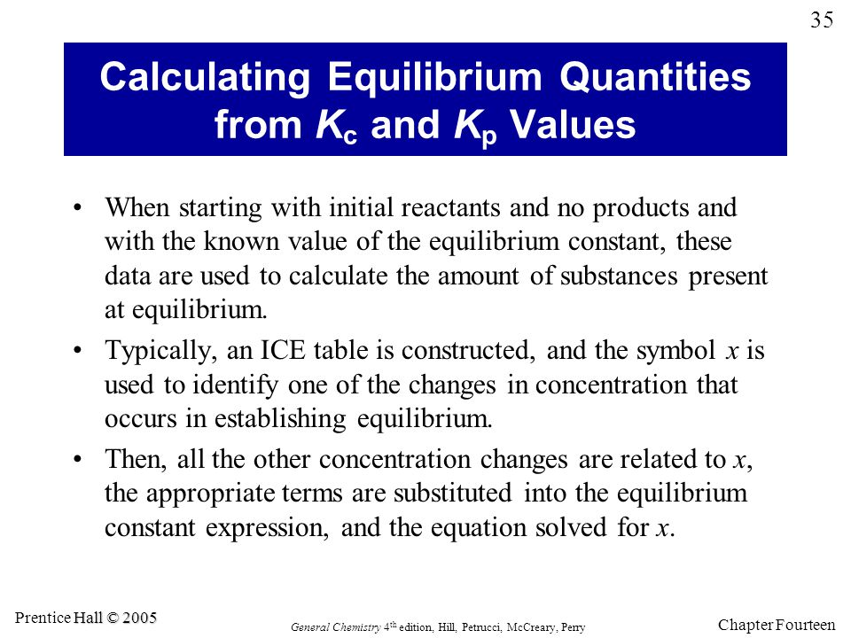 Calculating Equilibrium Quantities from Kc and Kp Values
