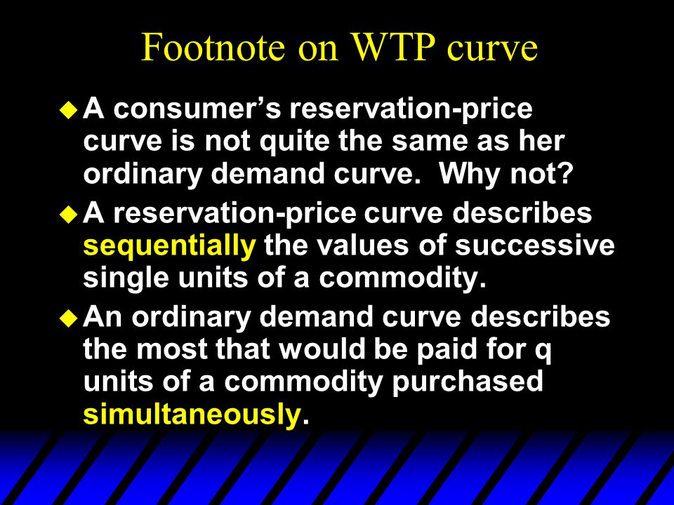 Footnote on WTP curve A consumer's reservation-price curve is not quite the same as her ordinary demand curve. Why not