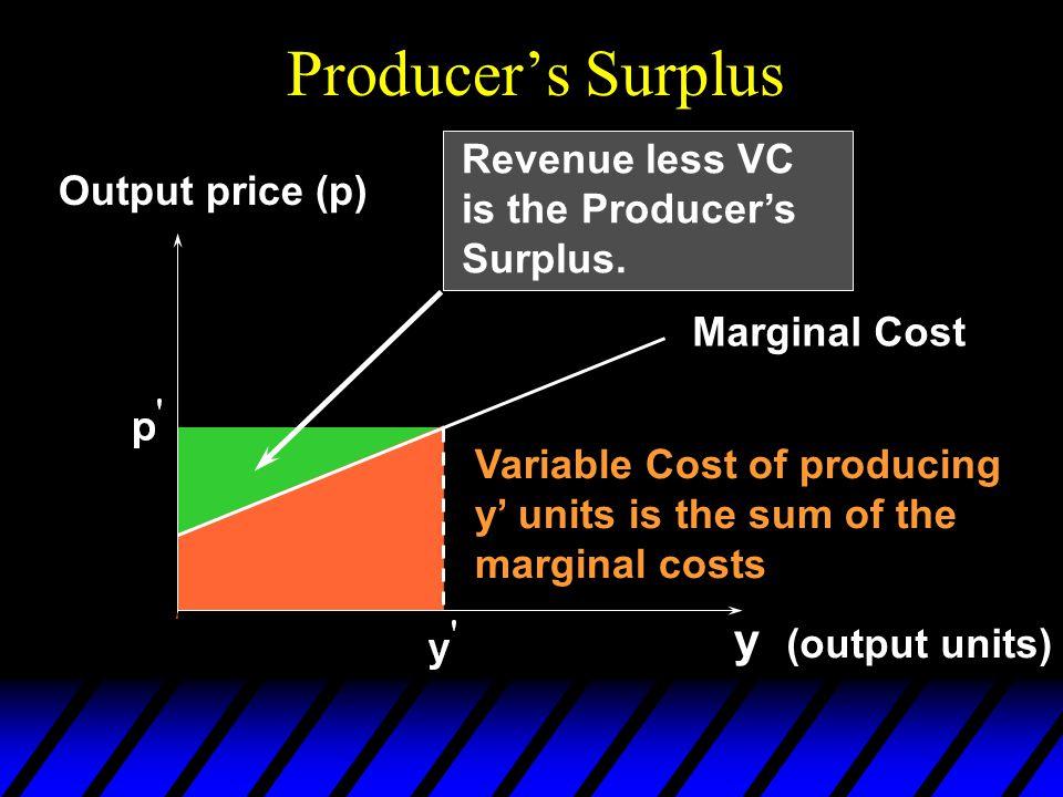 Producer's Surplus y Revenue less VC is the Producer's Surplus.