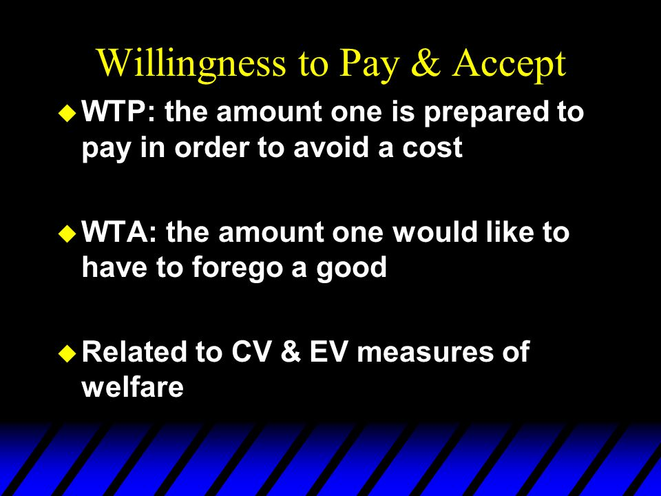 Willingness to Pay & Accept
