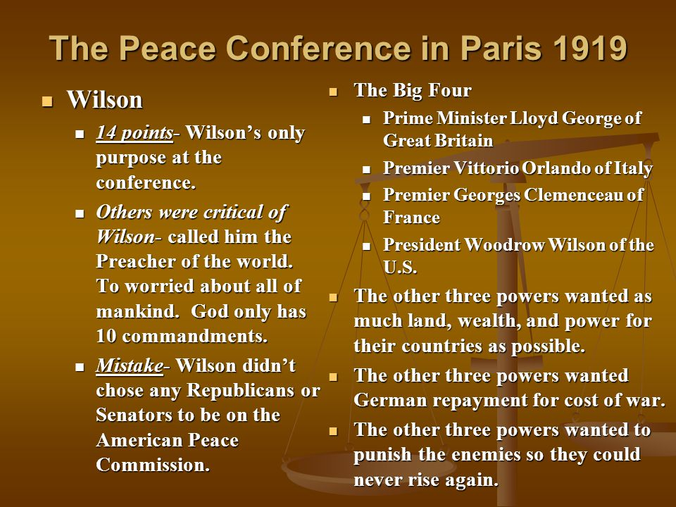 The Peace Conference in Paris 1919