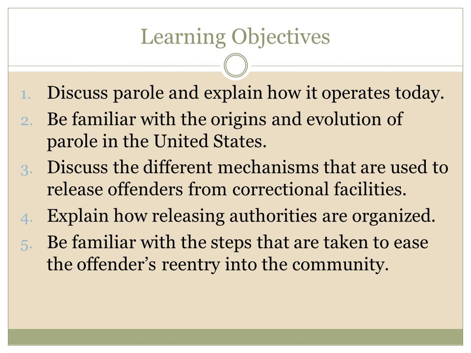 Learning Objectives Discuss parole and explain how it operates today.