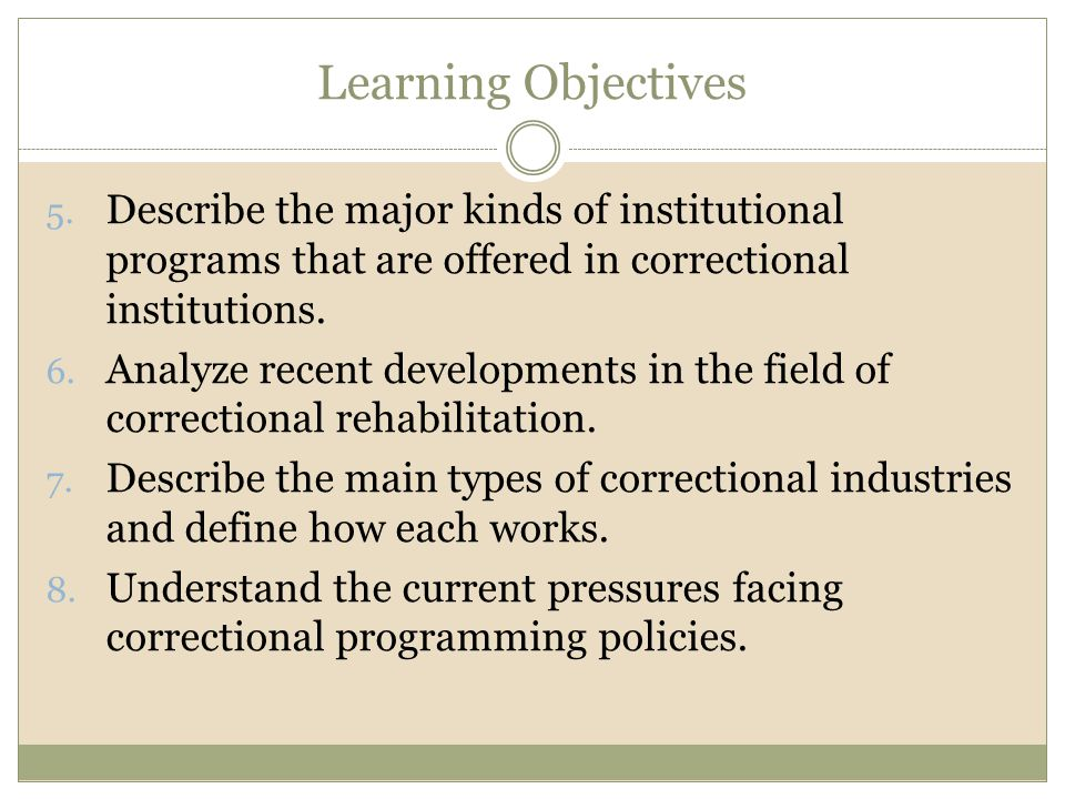 Learning Objectives Describe the major kinds of institutional programs that are offered in correctional institutions.
