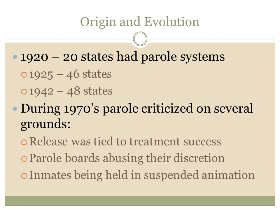 1920 – 20 states had parole systems