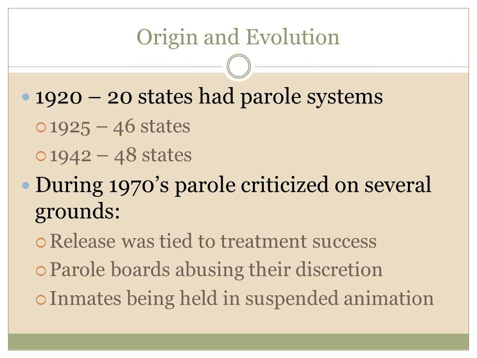 1920 – 20 states had parole systems